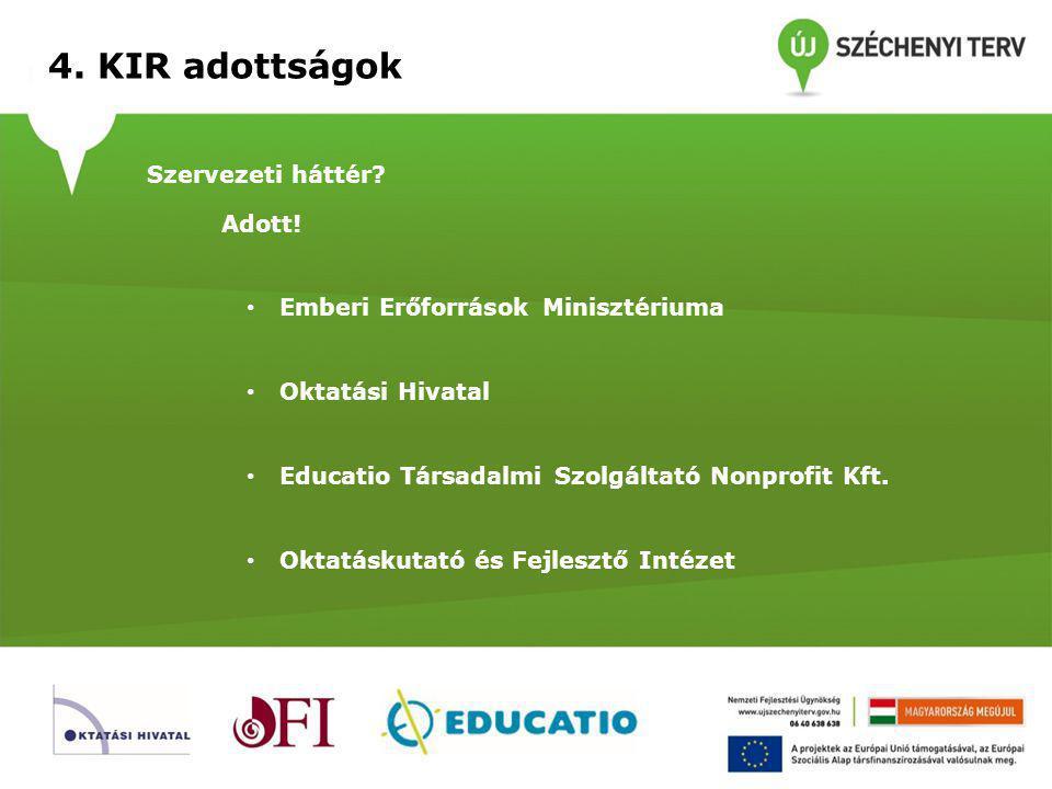 4.KIR adottságok Jogszabályi környezet. Adott. 2011.