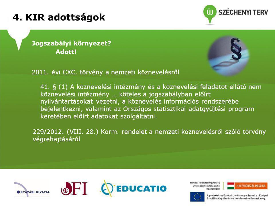 4. KIR adottságok Információs rendszer helyi szinten? Van!