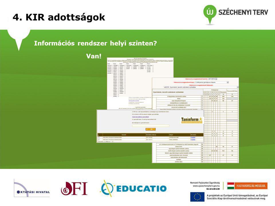 4. KIR adottságok Központi publikációs felület? Van!