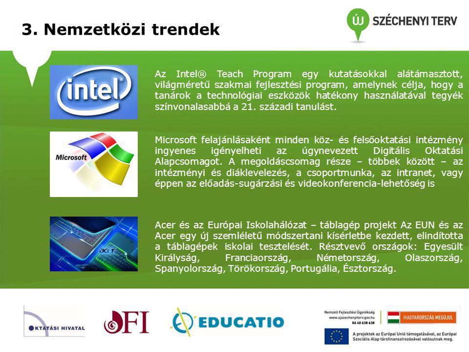 3. Nemzetközi trendek Az Intel® Teach Program egy kutatásokkal alátámasztott, világméretű szakmai fejlesztési program, amelynek célja, hogy a tanárok