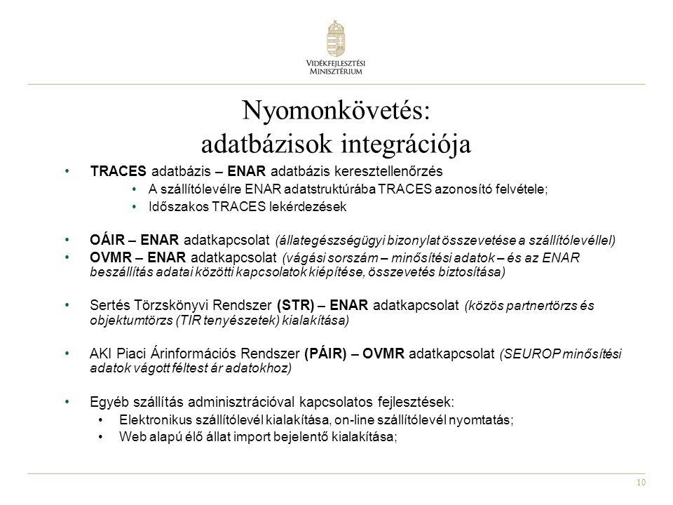 10 Nyomonkövetés: adatbázisok integrációja •TRACES adatbázis – ENAR adatbázis keresztellenőrzés •A szállítólevélre ENAR adatstruktúrába TRACES azonosító felvétele; •Időszakos TRACES lekérdezések •OÁIR – ENAR adatkapcsolat (állategészségügyi bizonylat összevetése a szállítólevéllel) •OVMR – ENAR adatkapcsolat (vágási sorszám – minősítési adatok – és az ENAR beszállítás adatai közötti kapcsolatok kiépítése, összevetés biztosítása) •Sertés Törzskönyvi Rendszer (STR) – ENAR adatkapcsolat (közös partnertörzs és objektumtörzs (TIR tenyészetek) kialakítása) •AKI Piaci Árinformációs Rendszer (PÁIR) – OVMR adatkapcsolat (SEUROP minősítési adatok vágott féltest ár adatokhoz) •Egyéb szállítás adminisztrációval kapcsolatos fejlesztések: •Elektronikus szállítólevél kialakítása, on-line szállítólevél nyomtatás; •Web alapú élő állat import bejelentő kialakítása;
