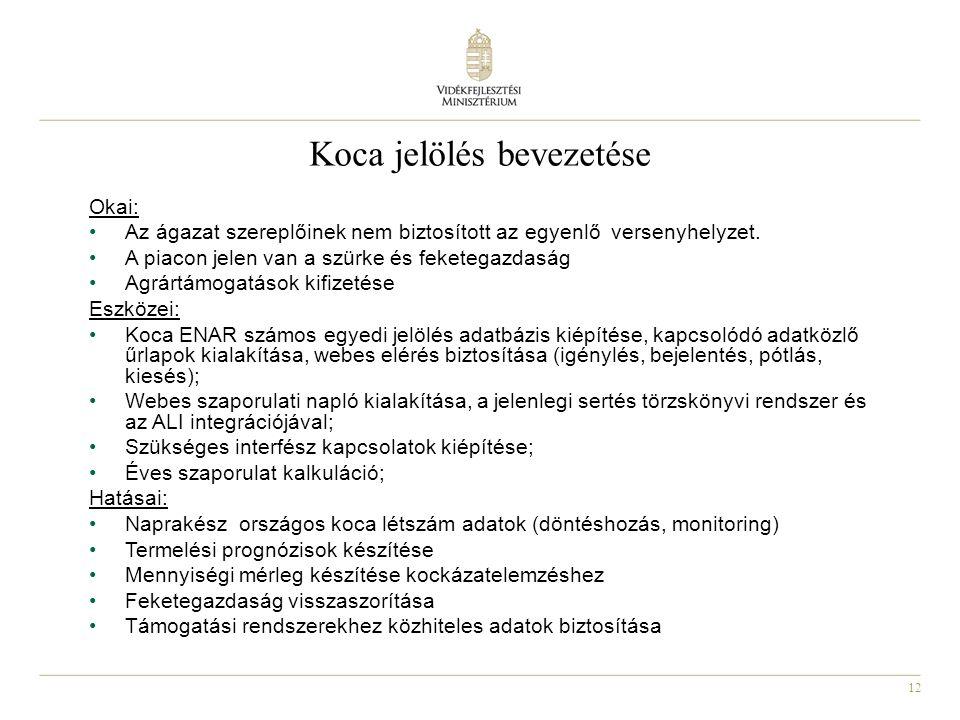 12 Koca jelölés bevezetése Okai: •Az ágazat szereplőinek nem biztosított az egyenlő versenyhelyzet.