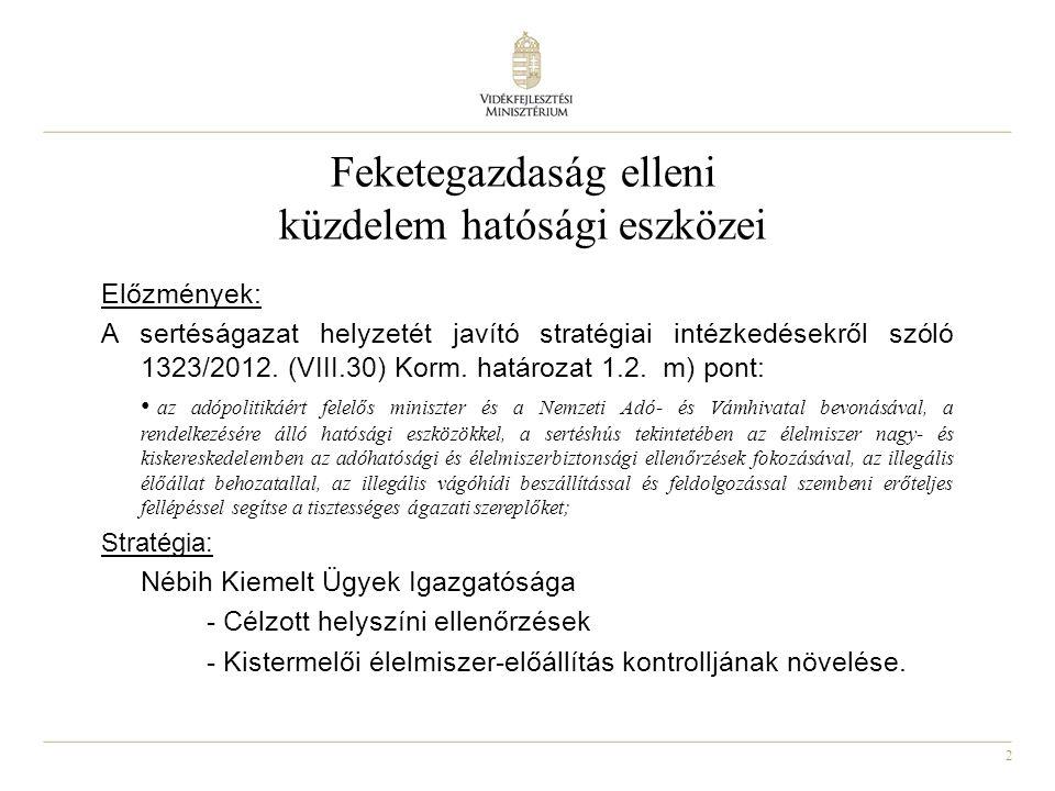 2 Feketegazdaság elleni küzdelem hatósági eszközei Előzmények: A sertéságazat helyzetét javító stratégiai intézkedésekről szóló 1323/2012.