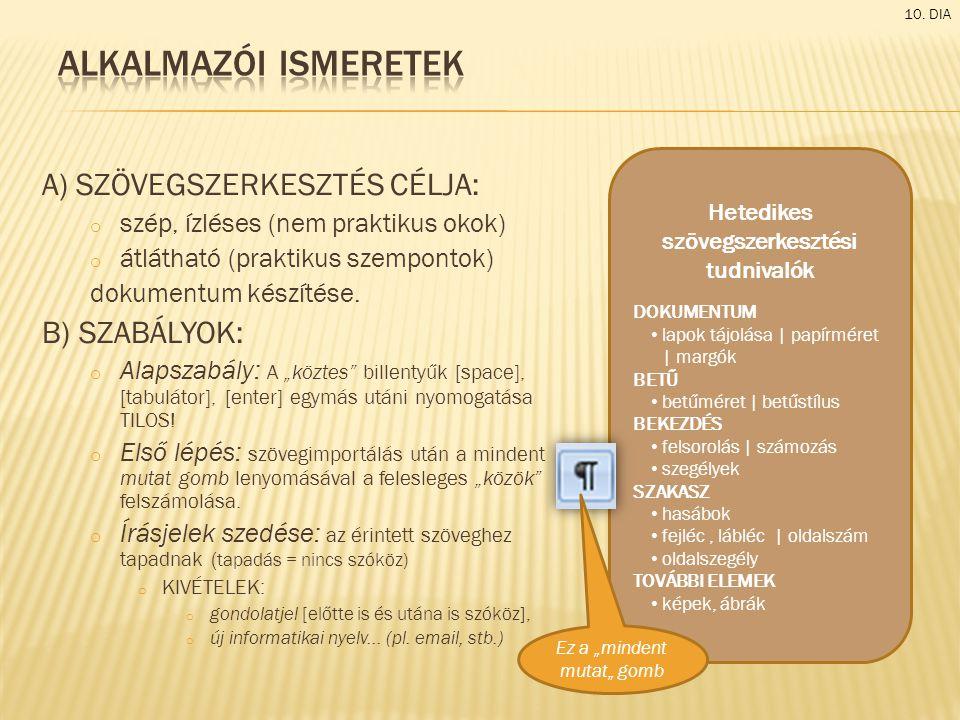 A) SZÖVEGSZERKESZTÉS CÉLJA: o szép, ízléses (nem praktikus okok) o átlátható (praktikus szempontok) dokumentum készítése.