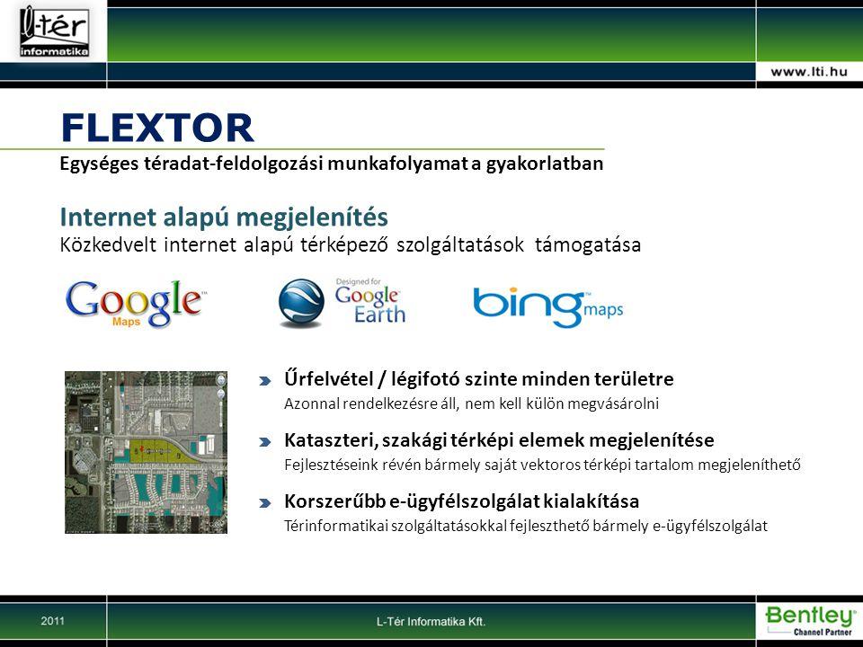 FLEXTOR Egységes téradat-feldolgozási munkafolyamat a gyakorlatban Internet alapú megjelenítés Közkedvelt internet alapú térképező szolgáltatások támogatása Űrfelvétel / légifotó szinte minden területre Azonnal rendelkezésre áll, nem kell külön megvásárolni Kataszteri, szakági térképi elemek megjelenítése Fejlesztéseink révén bármely saját vektoros térképi tartalom megjeleníthető Korszerűbb e-ügyfélszolgálat kialakítása Térinformatikai szolgáltatásokkal fejleszthető bármely e-ügyfélszolgálat