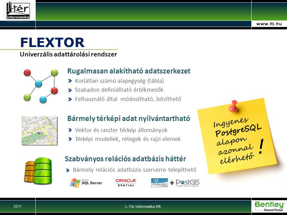 FLEXTOR Rugalmasan alakítható adatszerkezet Univerzális adattárolási rendszer Korlátlan számú alapegység (tábla) Szabadon definiálható értékmezők Felhasználó által módosítható, bővíthető Bármely térképi adat nyilvántartható Vektor és raszter térkép állományok Térképi modellek, rétegek és rajzi elemek Szabványos relációs adatbázis háttér Bármely relációs adatbázis szerverre telepíthető