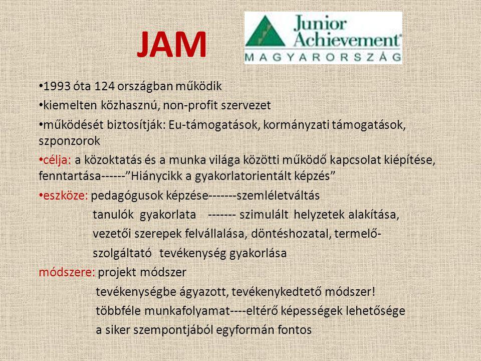 JAM • 1993 óta 124 országban működik • kiemelten közhasznú, non-profit szervezet • működését biztosítják: Eu-támogatások, kormányzati támogatások, szp
