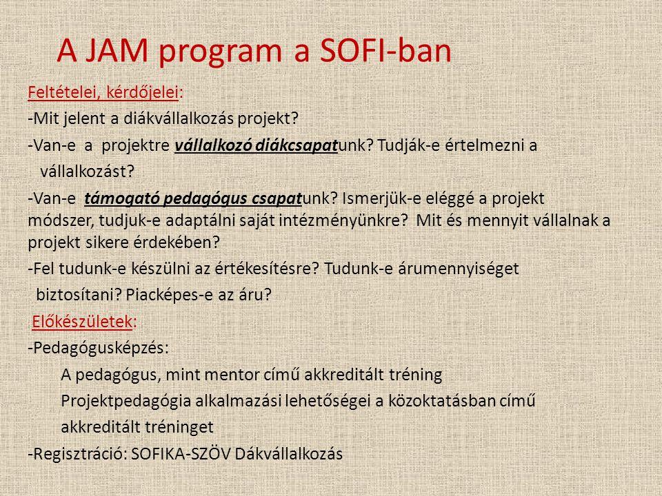 A JAM program a SOFI-ban Feltételei, kérdőjelei: -Mit jelent a diákvállalkozás projekt? -Van-e a projektre vállalkozó diákcsapatunk? Tudják-e értelmez