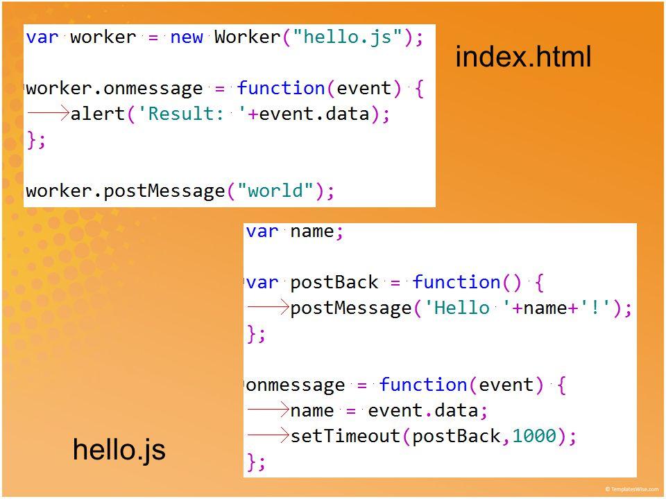 emulatedWorker.js • Elég ezt betölteni, és a Worker API-t használó Javascript futni fog minden böngészőben… • … de ettől nem lesz többszálú… • … és komolyabb adatszerkezetek- nél bonyolult az üzengetés