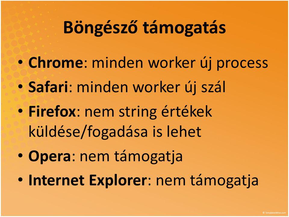 Böngésző támogatás • Chrome: minden worker új process • Safari: minden worker új szál • Firefox: nem string értékek küldése/fogadása is lehet • Opera: nem támogatja • Internet Explorer: nem támogatja