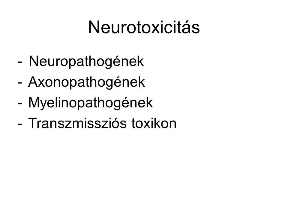 Neurotoxicitás - Neuropathogének -Axonopathogének -Myelinopathogének -Transzmissziós toxikon