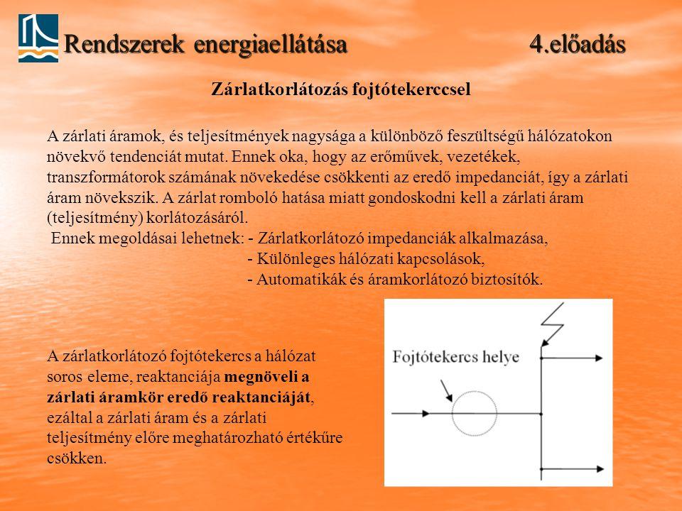 Rendszerek energiaellátása 4.előadás Zárlatkorlátozás fojtótekerccsel A zárlati áramok, és teljesítmények nagysága a különböző feszültségű hálózatokon