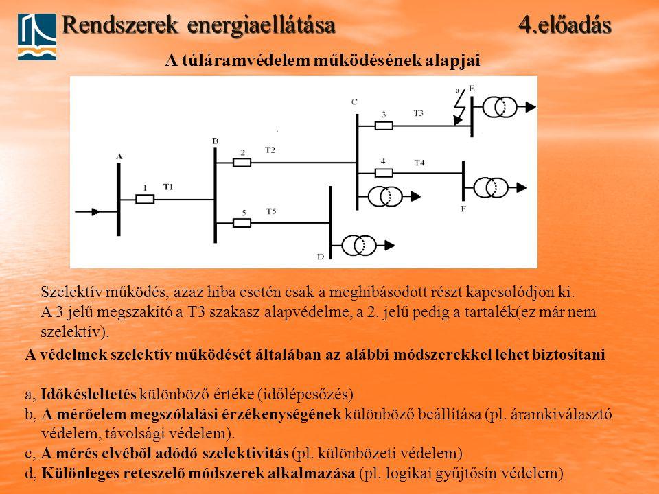 Rendszerek energiaellátása 4.előadás A túláramvédelem működésének alapjai Szelektív működés, azaz hiba esetén csak a meghibásodott részt kapcsolódjon ki.