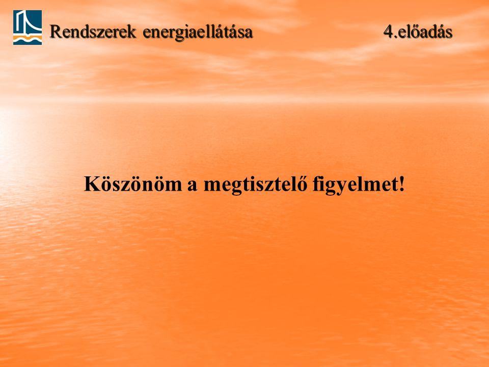 Rendszerek energiaellátása 4.előadás Köszönöm a megtisztelő figyelmet!