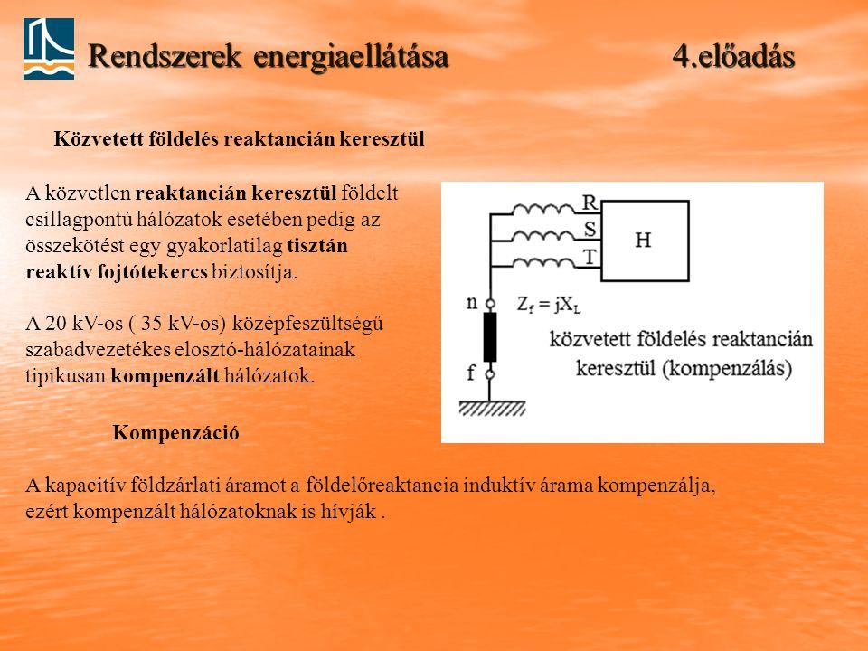 Rendszerek energiaellátása 4.előadás Közvetett földelés reaktancián keresztül A közvetlen reaktancián keresztül földelt csillagpontú hálózatok esetében pedig az összekötést egy gyakorlatilag tisztán reaktív fojtótekercs biztosítja.