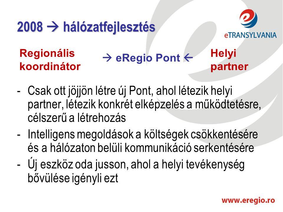 2008  hálózatfejlesztés -Csak ott jöjjön létre új Pont, ahol létezik helyi partner, létezik konkrét elképzelés a működtetésre, célszerű a létrehozás -Intelligens megoldások a költségek csökkentésére és a hálózaton belüli kommunikáció serkentésére -Új eszköz oda jusson, ahol a helyi tevékenység bővülése igényli ezt Regionális koordinátor  eRegio Pont  Helyi partner