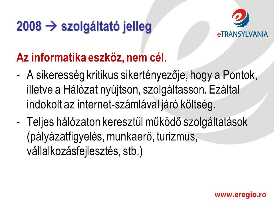 2008  szolgáltató jelleg Az informatika eszköz, nem cél. -A sikeresség kritikus sikertényezője, hogy a Pontok, illetve a Hálózat nyújtson, szolgáltas