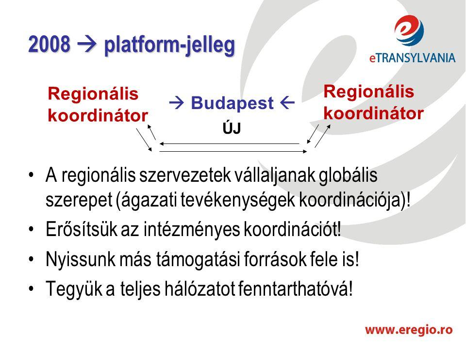 2008  platform-jelleg •A regionális szervezetek vállaljanak globális szerepet (ágazati tevékenységek koordinációja)! •Erősítsük az intézményes koordi