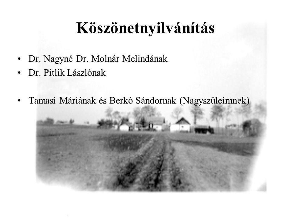 Köszönetnyilvánítás •Dr. Nagyné Dr. Molnár Melindának •Dr. Pitlik Lászlónak •Tamasi Máriának és Berkó Sándornak (Nagyszüleimnek)