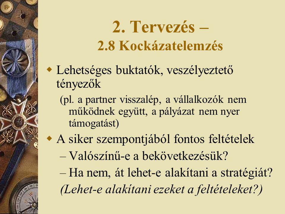 2. Tervezés – 2.8 Kockázatelemzés  Lehetséges buktatók, veszélyeztető tényezők (pl. a partner visszalép, a vállalkozók nem működnek együtt, a pályáza