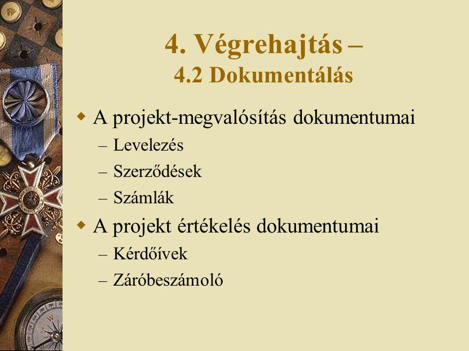 4. Végrehajtás – 4.2 Dokumentálás  A projekt-megvalósítás dokumentumai – Levelezés – Szerződések – Számlák  A projekt értékelés dokumentumai – Kérdő