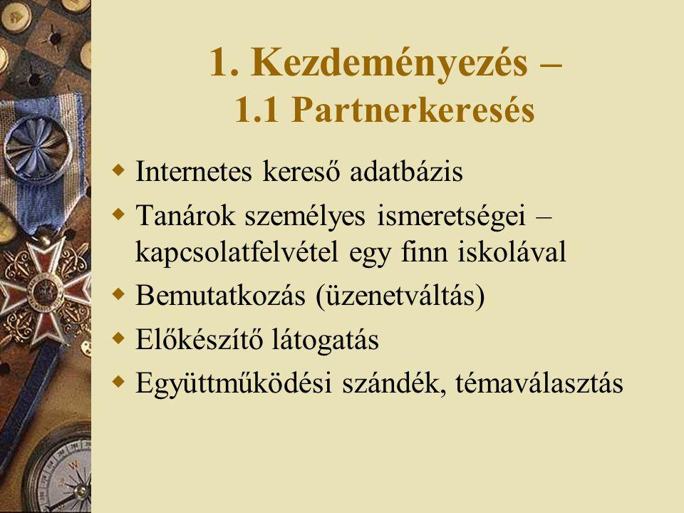 1. Kezdeményezés – 1.1 Partnerkeresés  Internetes kereső adatbázis  Tanárok személyes ismeretségei – kapcsolatfelvétel egy finn iskolával  Bemutatk