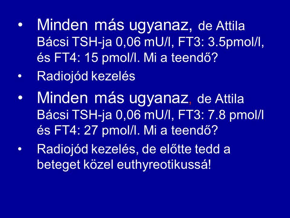 •Minden más ugyanaz, de Attila Bácsi TSH-ja 0,06 mU/l, FT3: 3.5pmol/l, és FT4: 15 pmol/l. Mi a teendő? •Radiojód kezelés •Minden más ugyanaz, de Attil