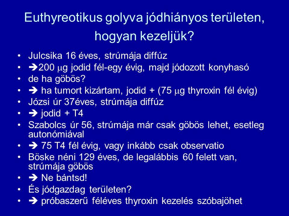 Euthyreotikus golyva jódhiányos területen, hogyan kezeljük? •Julcsika 16 éves, strúmája diffúz •  200  g jodid fél-egy évig, majd jódozott konyhasó