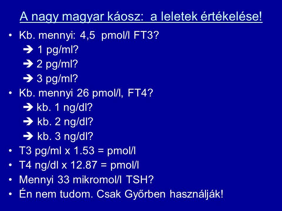 A nagy magyar káosz: a leletek értékelése! •Kb. mennyi: 4,5 pmol/l FT3?  1 pg/ml?  2 pg/ml?  3 pg/ml? •Kb. mennyi 26 pmol/l, FT4?  kb. 1 ng/dl? 