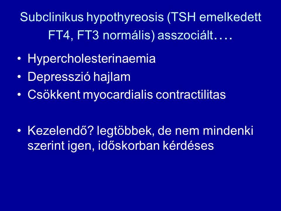 Subclinikus hypothyreosis (TSH emelkedett FT4, FT3 normális) asszociált …. •Hypercholesterinaemia •Depresszió hajlam •Csökkent myocardialis contractil