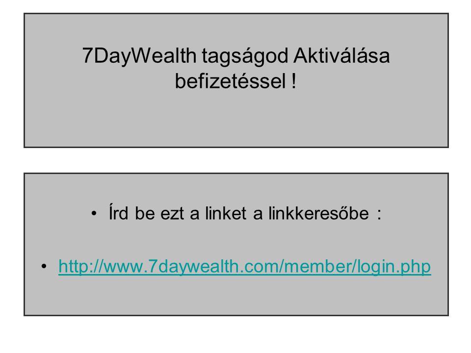 7DayWealth tagságod Aktiválása befizetéssel .