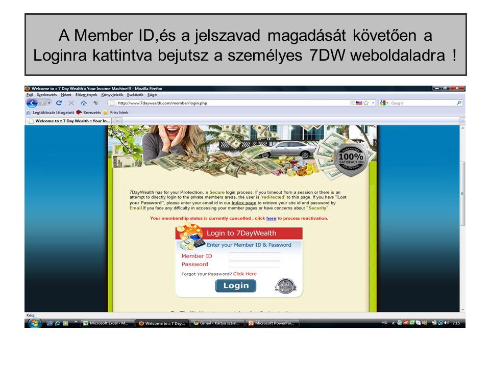 A Member ID,és a jelszavad magadását követően a Loginra kattintva bejutsz a személyes 7DW weboldaladra !