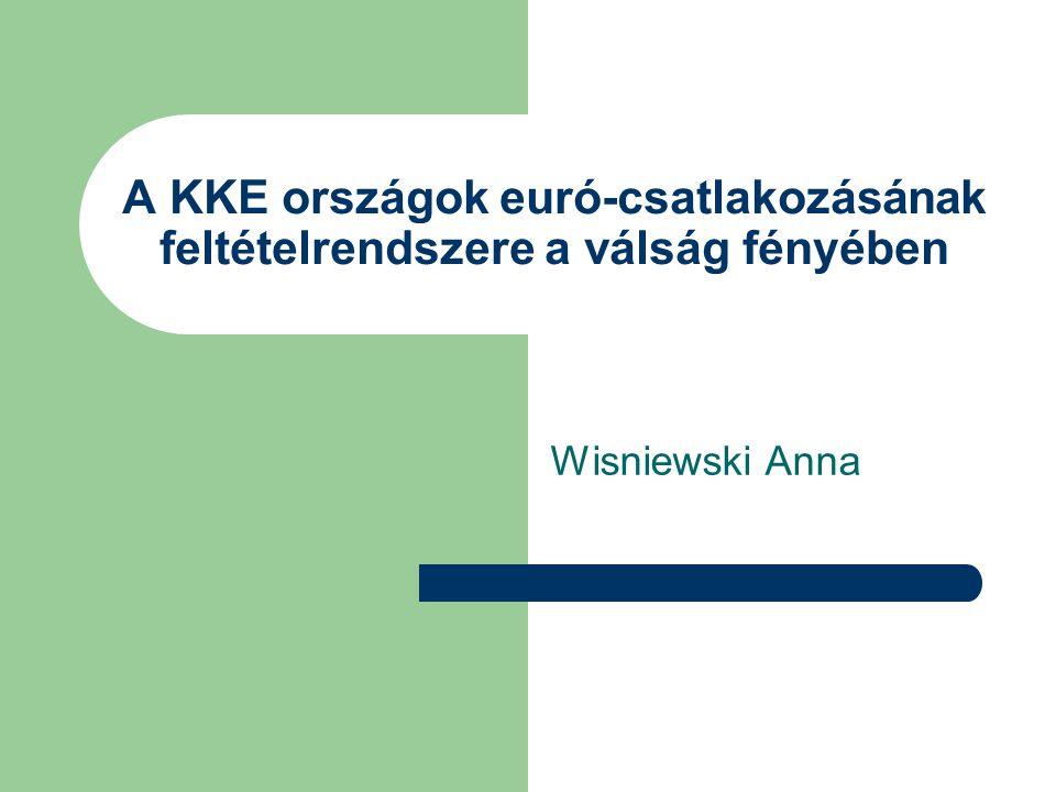 A KKE országok euró-csatlakozásának feltételrendszere a válság fényében Wisniewski Anna