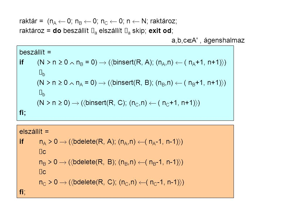raktár = (n A  0; n B  0; n C  0; n  N; raktároz; raktároz = do beszállít  a elszállít  a skip; exit od; a,b,c  A , ágenshalmaz beszállít = if (N  n  0  n B = 0)  (  binsert(R, A); (n A,n)  ( n A +1, n+1)  )  b (N  n  0  n A = 0)  (  binsert(R, B); (n B,n)  ( n B +1, n+1)  )  b (N  n  0)  (  binsert(R, C); (n C,n)  ( n C +1, n+1)  ) fi; elszállít = if n A  0  (  bdelete(R, A); (n A,n)  ( n A -1, n-1)  )  c n B  0  (  bdelete(R, B); (n B,n)  ( n B -1, n-1)  )  c n C  0  (  bdelete(R, C); (n C,n)  ( n C -1, n-1)  ) fi;