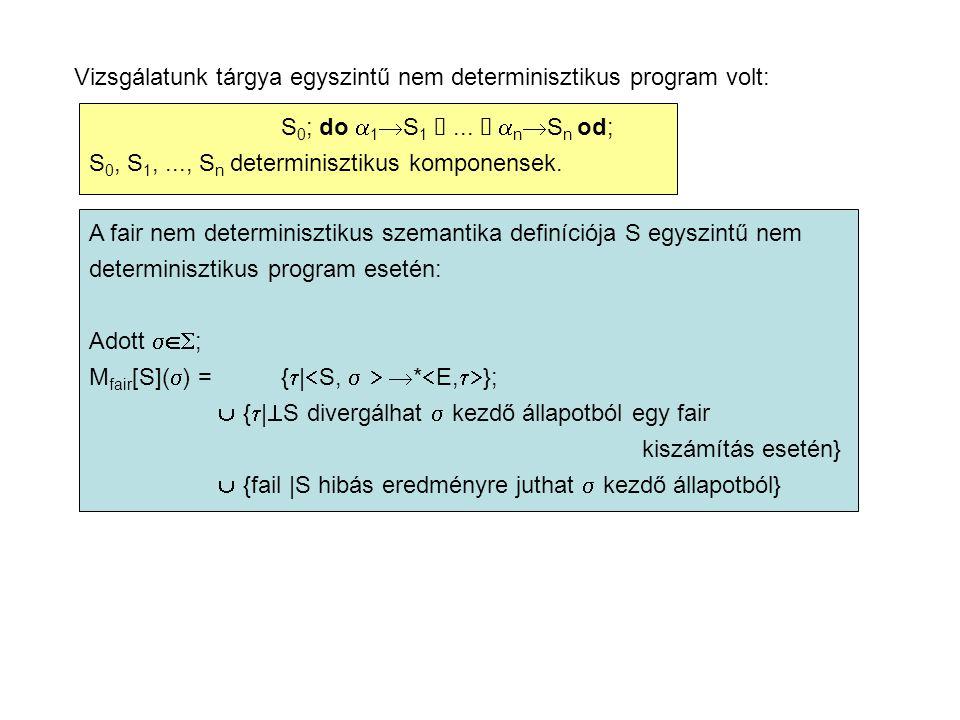 Vizsgálatunk tárgya egyszintű nem determinisztikus program volt: S 0 ; do  1  S 1 ...
