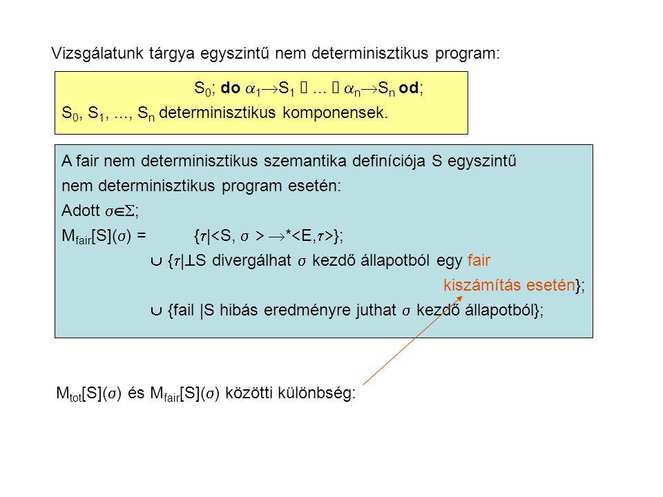 Vizsgálatunk tárgya egyszintű nem determinisztikus program: S 0 ; do  1  S 1 ...