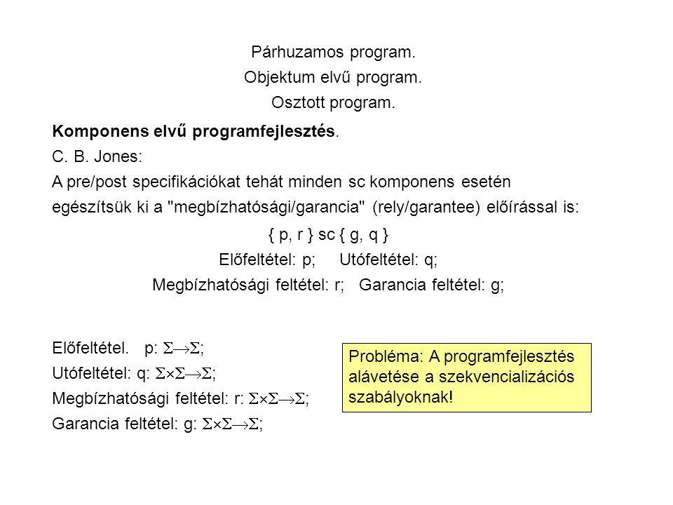 Párhuzamos program. Objektum elvű program. Osztott program.