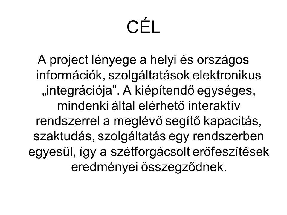 """CÉL A project lényege a helyi és országos információk, szolgáltatások elektronikus """"integrációja ."""