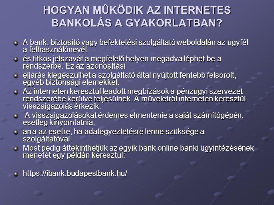 HOGYAN MÛKÖDIK AZ INTERNETES BANKOLÁS A GYAKORLATBAN? A bank, biztosító vagy befektetési szolgáltató weboldalán az ügyfél a felhasználónevét és titkos