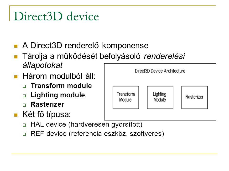 Direct3D device  A Direct3D renderelő komponense  Tárolja a működését befolyásoló renderelési állapotokat  Három modulból áll:  Transform module  Lighting module  Rasterizer  Két fő típusa:  HAL device (hardveresen gyorsított)  REF device (referencia eszköz, szoftveres)