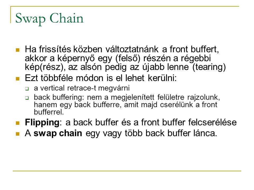 Swap Chain  Ha frissítés közben változtatnánk a front buffert, akkor a képernyő egy (felső) részén a régebbi kép(rész), az alsón pedig az újabb lenne (tearing)  Ezt többféle módon is el lehet kerülni:  a vertical retrace-t megvárni  back buffering: nem a megjelenített felületre rajzolunk, hanem egy back bufferre, amit majd cserélünk a front bufferrel.