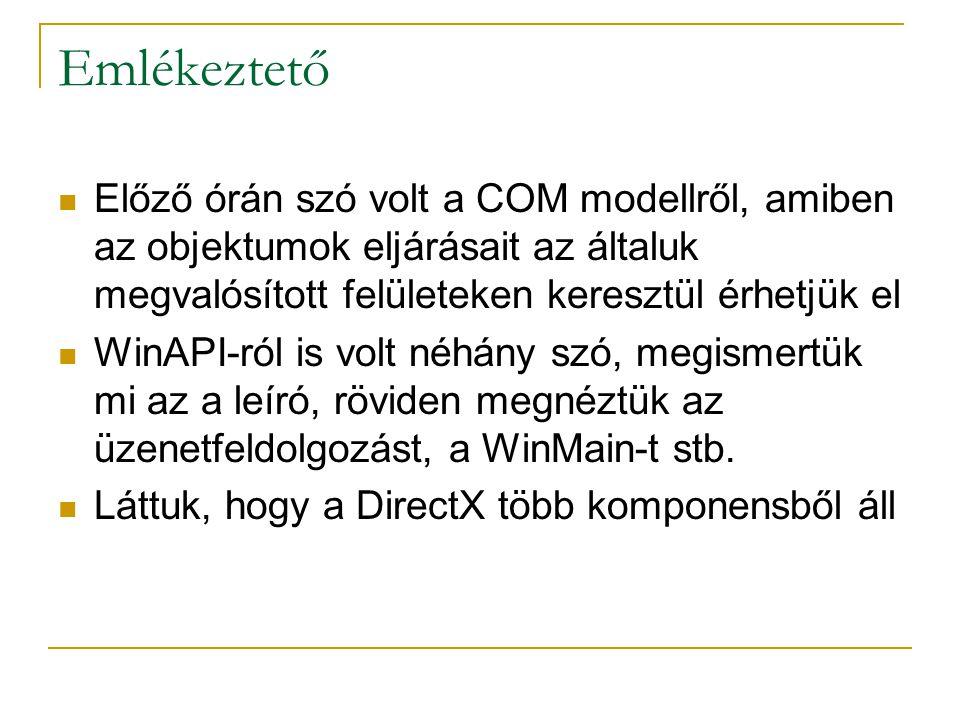 Emlékeztető  Előző órán szó volt a COM modellről, amiben az objektumok eljárásait az általuk megvalósított felületeken keresztül érhetjük el  WinAPI-ról is volt néhány szó, megismertük mi az a leíró, röviden megnéztük az üzenetfeldolgozást, a WinMain-t stb.