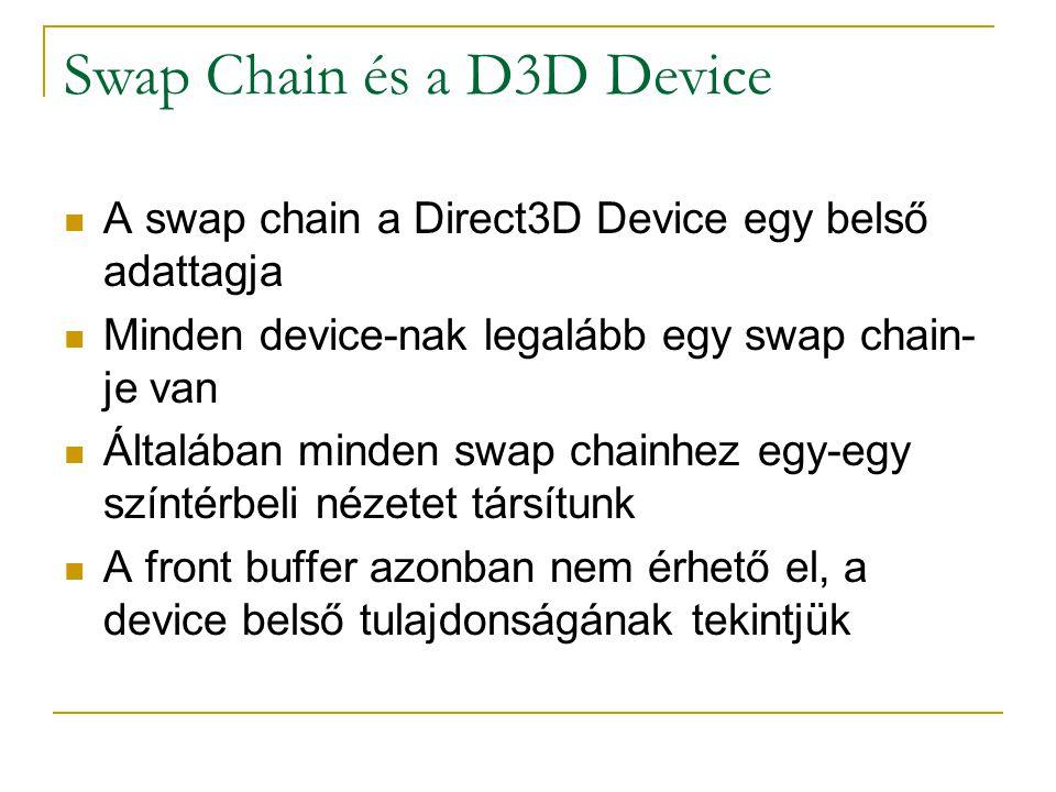 Swap Chain és a D3D Device  A swap chain a Direct3D Device egy belső adattagja  Minden device-nak legalább egy swap chain- je van  Általában minden swap chainhez egy-egy színtérbeli nézetet társítunk  A front buffer azonban nem érhető el, a device belső tulajdonságának tekintjük