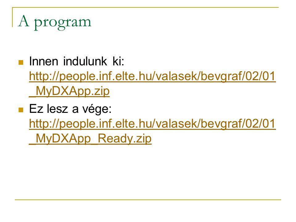 A program  Innen indulunk ki: http://people.inf.elte.hu/valasek/bevgraf/02/01 _MyDXApp.zip http://people.inf.elte.hu/valasek/bevgraf/02/01 _MyDXApp.zip  Ez lesz a vége: http://people.inf.elte.hu/valasek/bevgraf/02/01 _MyDXApp_Ready.zip http://people.inf.elte.hu/valasek/bevgraf/02/01 _MyDXApp_Ready.zip