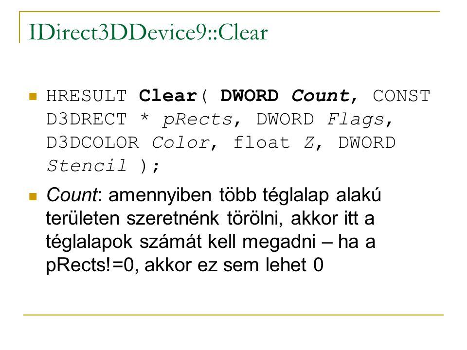 IDirect3DDevice9::Clear  HRESULT Clear( DWORD Count, CONST D3DRECT * pRects, DWORD Flags, D3DCOLOR Color, float Z, DWORD Stencil );  Count: amennyiben több téglalap alakú területen szeretnénk törölni, akkor itt a téglalapok számát kell megadni – ha a pRects!=0, akkor ez sem lehet 0