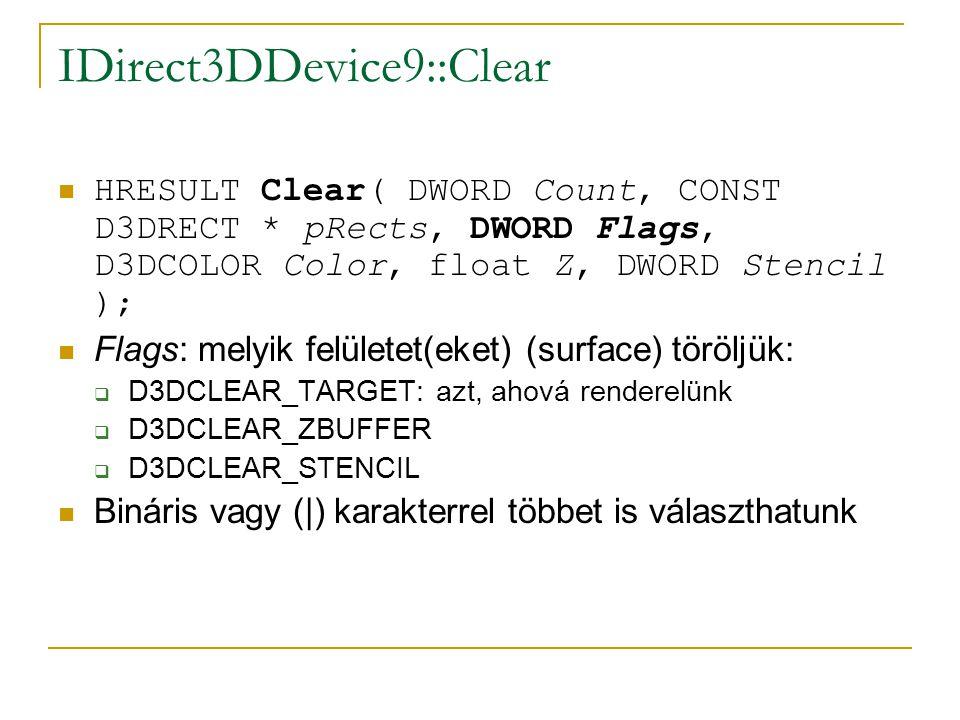 IDirect3DDevice9::Clear  HRESULT Clear( DWORD Count, CONST D3DRECT * pRects, DWORD Flags, D3DCOLOR Color, float Z, DWORD Stencil );  Flags: melyik felületet(eket) (surface) töröljük:  D3DCLEAR_TARGET: azt, ahová renderelünk  D3DCLEAR_ZBUFFER  D3DCLEAR_STENCIL  Bináris vagy (|) karakterrel többet is választhatunk