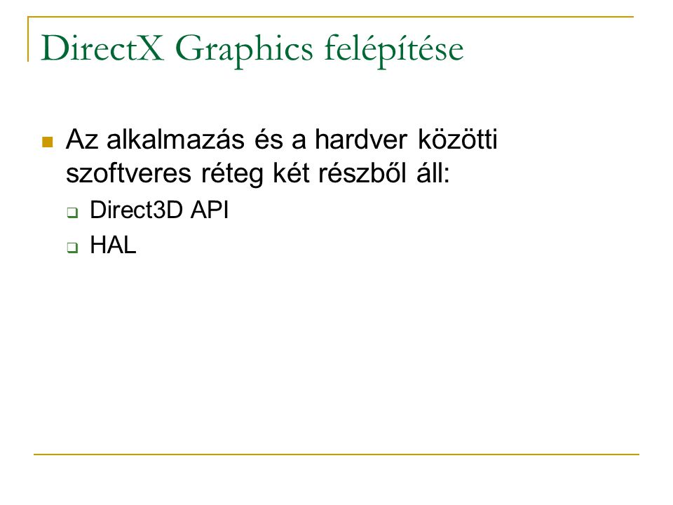 IDirect3D9::CreateDevice  HRESULT CreateDevice( UINT Adapter, D3DDEVTYPE DeviceType, HWND hFocusWindow, DWORD BehaviorFlags, D3DPRESENT_PARAMETERS * pPresParams, IDirect3DDevice9 ** ppRetDeviceInterface );  pPresParams: lásd korábban
