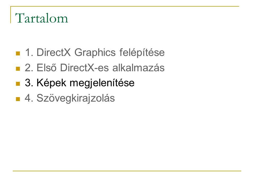 Tartalom  1.DirectX Graphics felépítése  2. Első DirectX-es alkalmazás  3.