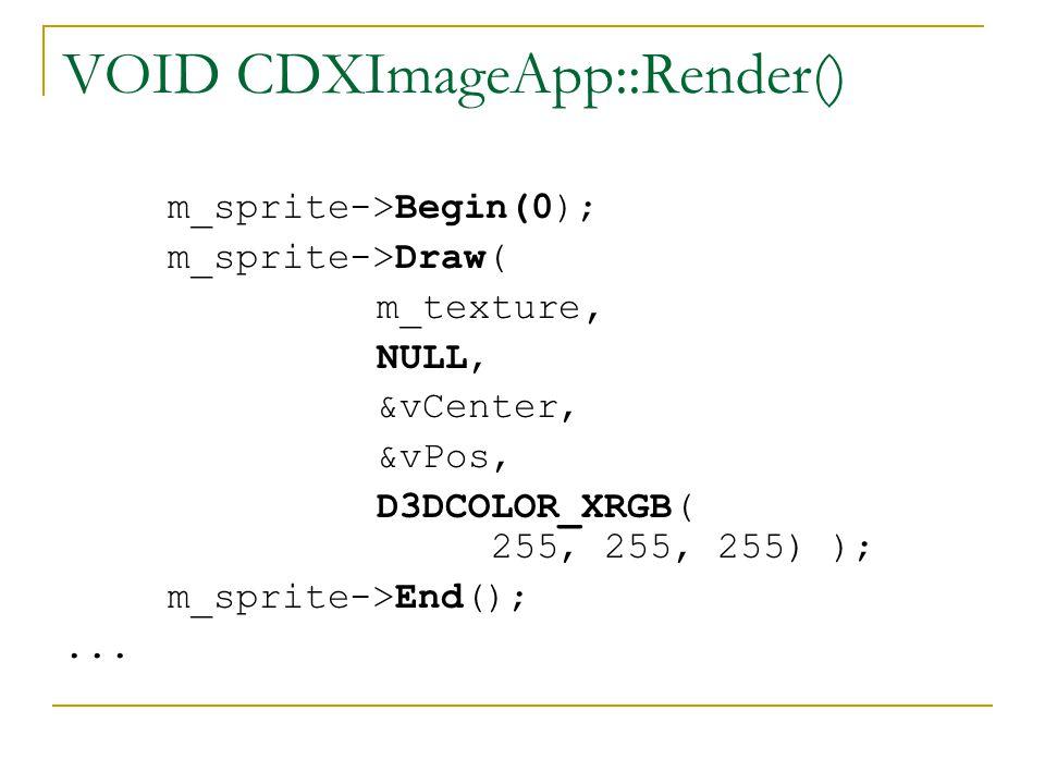 VOID CDXImageApp::Render() m_sprite->Begin(0); m_sprite->Draw( m_texture, NULL, &vCenter, &vPos, D3DCOLOR_XRGB( 255, 255, 255) ); m_sprite->End();...