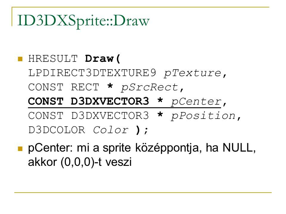 ID3DXSprite::Draw  HRESULT Draw( LPDIRECT3DTEXTURE9 pTexture, CONST RECT * pSrcRect, CONST D3DXVECTOR3 * pCenter, CONST D3DXVECTOR3 * pPosition, D3DCOLOR Color );  pCenter: mi a sprite középpontja, ha NULL, akkor (0,0,0)-t veszi
